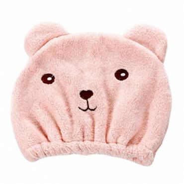 Bonnet séchage rapide Kawaii Ours rose